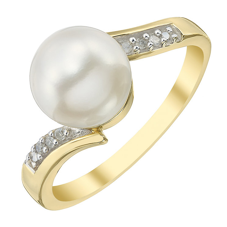 9ct Gold Cultured Freshwater Pearl & Diamond Wave Ring - Product number 4145534
