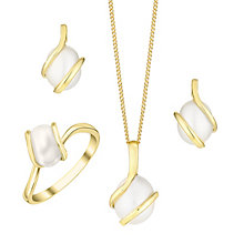 9ct Gold Cultured Freshwater Pearl Pendant, Earrings & Ring - Product number 4145828