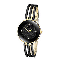 Sekonda Ladies' Round Black Dial Two Tone Bracelet Watch - Product number 4147359