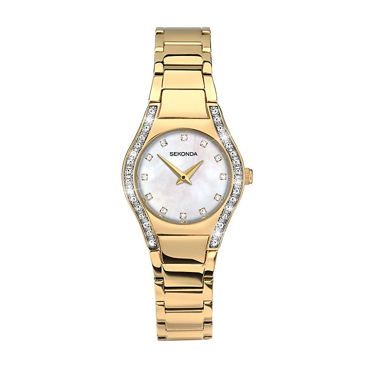 Sekonda Ladies' Round White Dial Gold Bracelet Watch - Product number 4147529