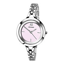 Sekonda Ladies' Round Pink Dial Chrome Bracelet Watch - Product number 4147596