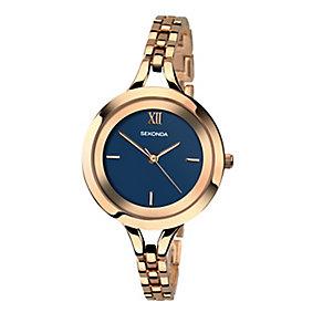 Sekonda Ladies' Blue Dial Rose Gold Plated Bracelet Watch - Product number 4147618