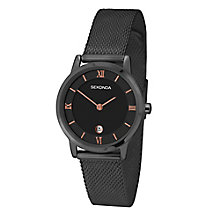 Sekonda Ladies' Black Dial Stainless Steel Bracelet Watch - Product number 4147626