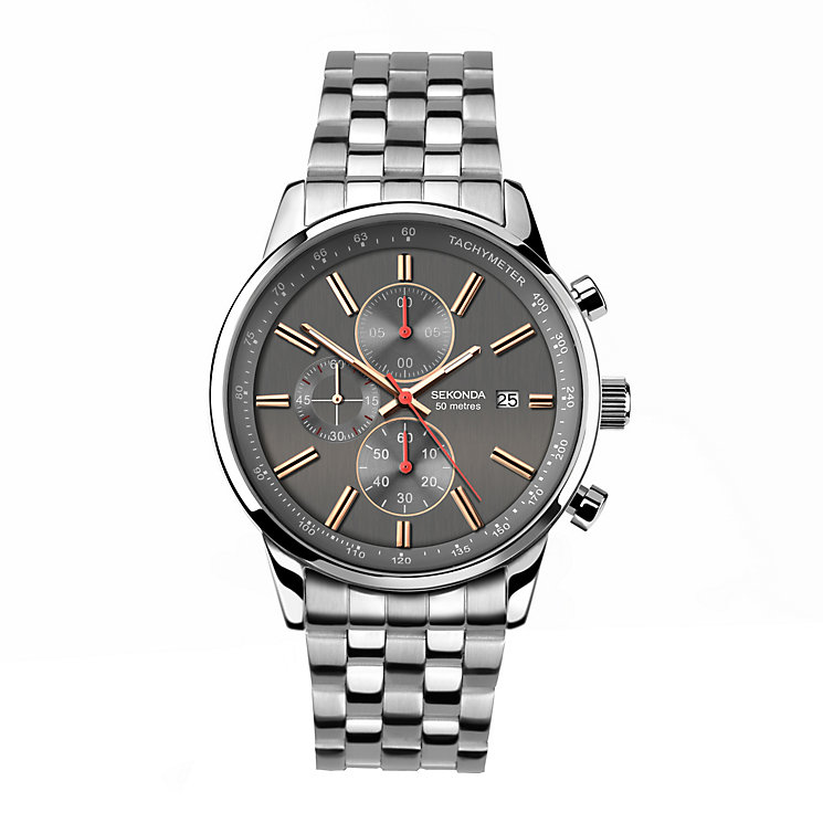 Sekonda Men's Dark Grey Dial Stainless Steel Bracelet Watch - Product number 4147634