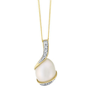 9ct Gold Cultured Freshwater Pearl & Diamond Wrap Pendant - Product number 4147715