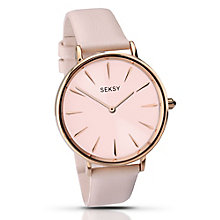 Sekonda Seksy Rose Gold-Plated Pink Leather Strap Watch - Product number 4154231