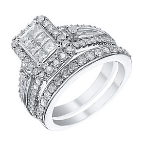 9ct White Gold 1.25 Carat Diamond Bridal Ring Set - Product number 4154517