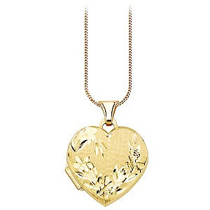 9ct Gold Diamond Cut Heart Locket