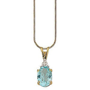 Blue Topaz with Diamond Accent Pendant
