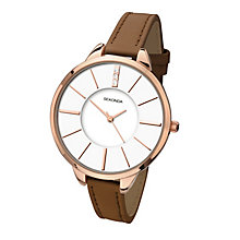 Sekonda Seksy Rose Gold-Plated Brown Leather Strap Watch - Product number 4156099