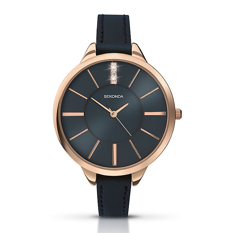Sekonda Seksy Rose Gold-Plated Deep Blue Leather Watch - Product number 4159160