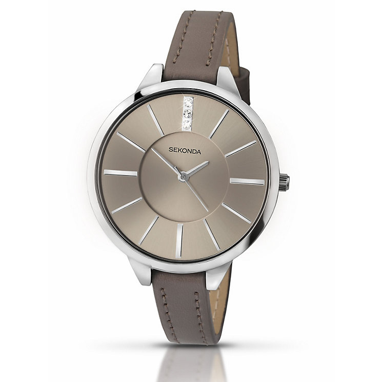 Sekonda Seksy Stone Set Dial Grey Leather Strap Watch - Product number 4159470
