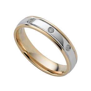 18ct two-colour gold diamond wedding ring - Product number 4159624