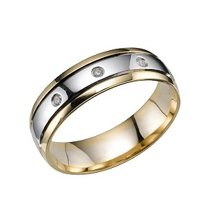 18ct two-colour gold diamond wedding ring - Product number 4159888