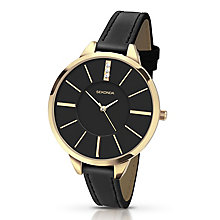 Sekonda Seksy Gold-Plated Stone Set Dial Black Strap Watch - Product number 4160843