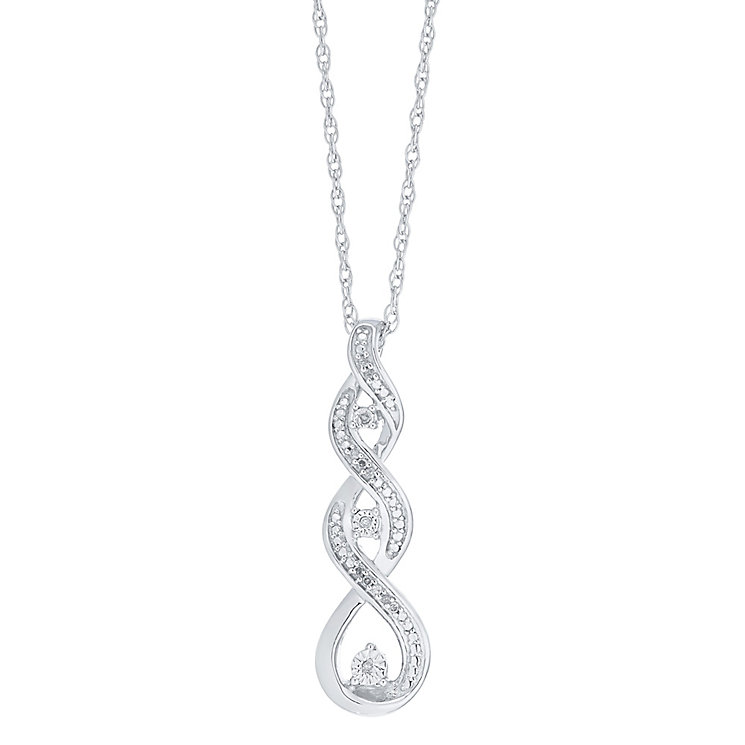 Sterling Silver Diamond Set Twist Pendant - Product number 4161491