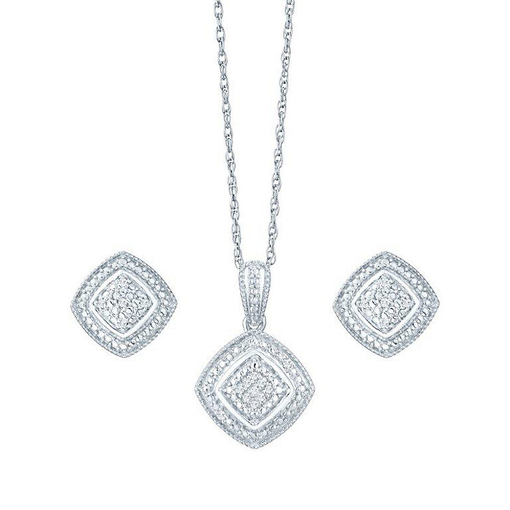 Silver and Diamond Earring & Pendant Set - Product number 4161556