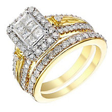 9ct Gold 1.25 Carat Diamond Rectangular Bridal Set - Product number 4161572
