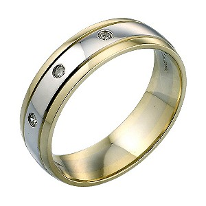 H Samuel Mens 9ct Two Colour Gold Diamond Ring