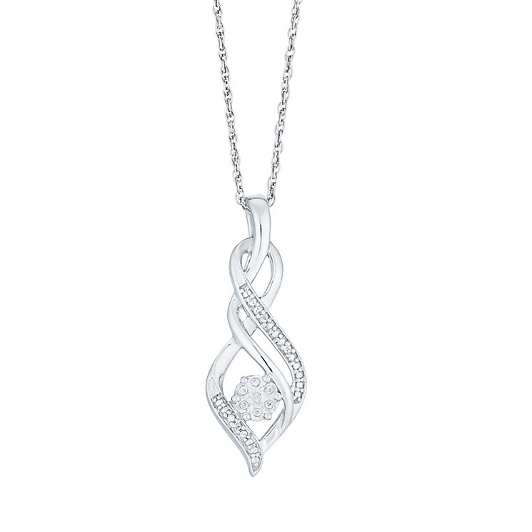 Sterling Silver Diamond Set Twist Pendant - Product number 4164717