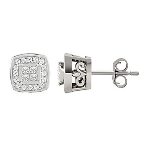 9ct White Gold 0.15 Carat Diamond Princessa Stud Earrings - Product number 4188055