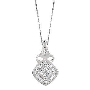 9ct White Gold 0.10 Carat Diamond Princessa Pendant - Product number 4188063