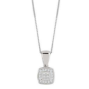 9ct White Gold 0.10 Carat Diamond Princessa Pendant - Product number 4188071