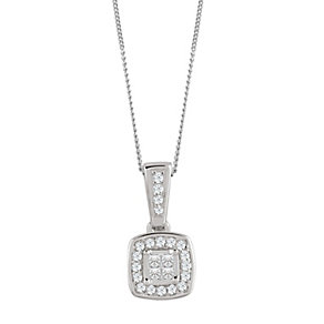 9ct White Gold 0.10 Carat Diamond Princessa Pendant - Product number 4188098