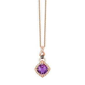Le Vian 14ct Strawberry Gold Amythest & Diamond Pendant - Product number 4188101