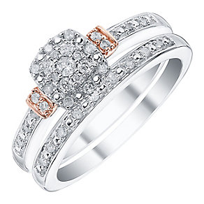 9ct White Gold & Rose Gold 1/5ct Diamond Ring Bridal Set - Product number 4188144