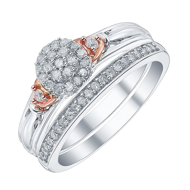 Perfect Fit Signature 9ct White & Rose Gold 1/4ct Bridal Set - Product number 4188276