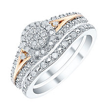 Perfect Fit 9ct White & Rose Gold 1/3ct Bridal Set - Product number 4188802
