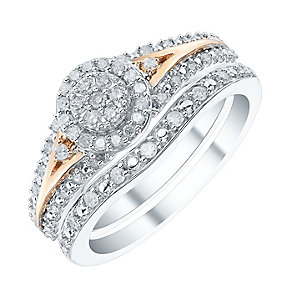 9ct White Gold & Rose Gold 1/3ct Diamond Ring Bridal Set - Product number 4188802
