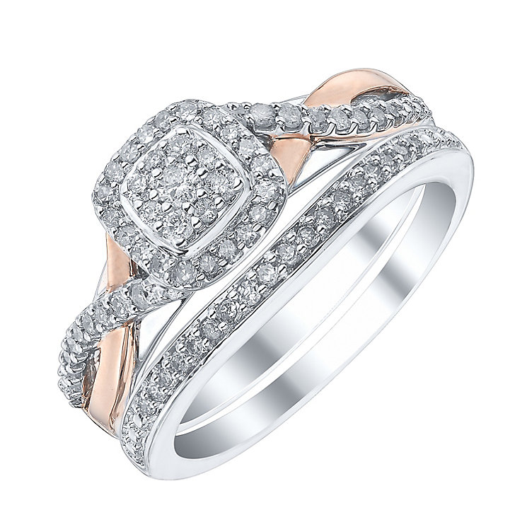 9ct White & Rose Gold 1/3ct Diamond Perfect Fit Bridal Set - Product number 4189523