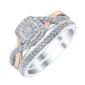Perfect Fit Signature 9ct White & Rose Gold 1/3ct Bridal Set - Product number 4189523