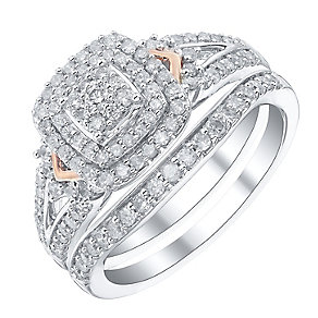 9ct White Gold & Rose Gold 2/3ct Diamond Ring Bridal Set - Product number 4190181