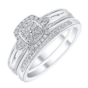 18ct White Gold 1/4ct Diamond Ring Bridal Set - Product number 4190335