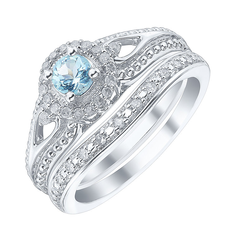 9ct White Gold & Aquamarine Diamond Ring Bridal Set - Product number 4190904