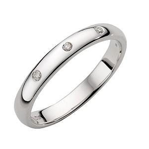 9ct White Gold Three Diamond Ring