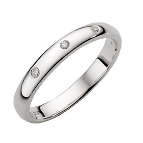 9ct White Gold Three Diamond Ring - Product number 4194926