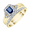 9ct Yellow Gold & Sapphire Diamond Ring Bridal Set - Product number 4195078