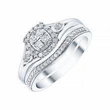 9ct White Gold Cushion Shape 1/4ct Diamond Ring Bridal Set - Product number 4195574