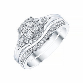 9ct White Gold Cushion Cut 1/4ct Diamond Ring Bridal Set - Product number 4195574
