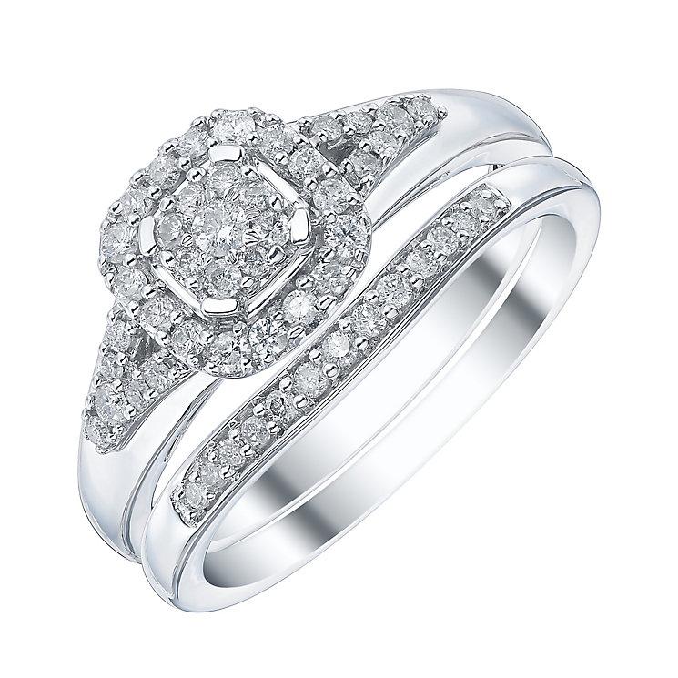 9ct White Gold Cushion Shape 1/3ct Diamond Ring Bridal Set - Product number 4195906