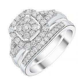 9ct White Gold Cushion Cut 3/4ct Diamond Ring Bridal Set - Product number 4196562