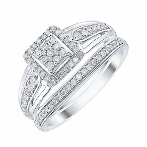 9ct White Gold Square Shaped 1/3ct Diamond Ring Bridal Set - Product number 4196813
