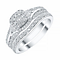 18ct White Gold 1/3 Diamond Cushion Shape Bridal Set - Product number 4197089