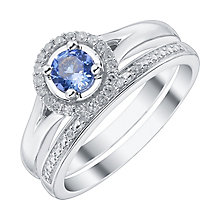 9ct White Gold Tanzanite Diamond Ring Bridal Set - Product number 4197224