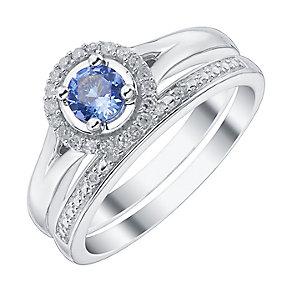 9ct White Gold Tanzanite Diamond Ring Bridal Set - Product number 4197224