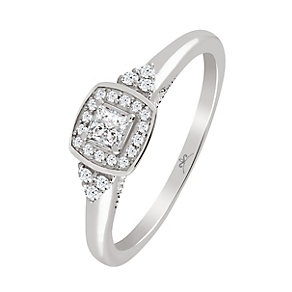 9ct White Gold 1/4 Carat Diamond Princessa Ring - Product number 4197356